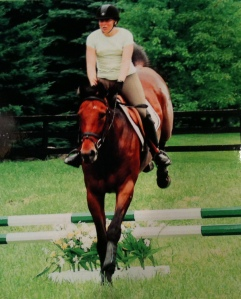 Derby and his former owner at a clinic with Leslie Law.