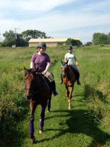 Derby, with Carson up, out on the trails, with Christy and Liam.  Photo by Natalie, who was aboard Eliot at the time.